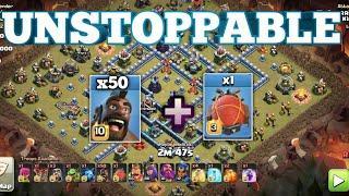 50 Hog + Blimp bomb!! Th13 Best Hog Strategy. CWL + War 3 Star Strategy. Coc
