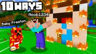 Top 10 Ways To PRANK Noob1234 With BABY PRESTON! ( Minecraft)