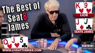 BEST HIGH STAKES POKER HANDS of Seat8 James!!! | Poker Highlights ♠ Live at the Bike!