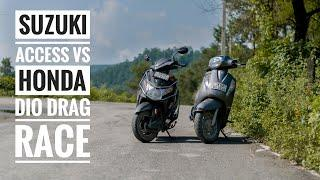 Suzuki Access 125 Vs Honda Dio   Drag Race   Long Race   Top End
