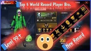 Free Fire Top 5 World Record Player || Free Fire India Top Players || Free fire awm king ||