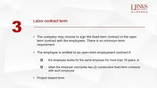 Llinks Law Offices Webinar Series: Top 10 Labour Law Issues to Consider When Setting up  in China