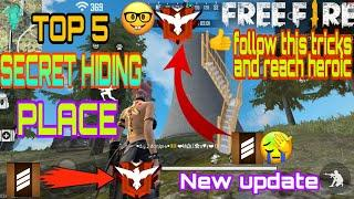 FREE FIRE BEST TOP 5 SECRET HIDING PLACE IN  BERMUDA MAP AFTER NEW UPDATE||NOOB GALAXY