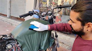 Hero Splendor Vinyl Wrapping Military Green   Splendor Modification   Vwraps Sikar  