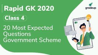 20 Most Expected Questions on Latest Government Schemes | Rapid GK 2020 Series | Class 4