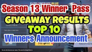PUBG LITE WINNER PASS GIVEAWAY RESULT ANNOUNCEMENT | TOP 10 WINNERS LIVE RESULTS PUBG LITE