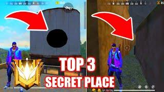 TOP 3 SECRET HIDDEN PLACE-Garena Free Fire // BEST TOP 3 RANK PUSHING HIDDING PLACE IN FREE FIRE