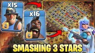 16 Hogs + 15 Miner + Queen Walk Smashing 3Star  TH12 Classic War Base | Clash Of Clan