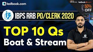 IBPS RRB Clerk 2020 | Top 10 Important Boat and Stream Questions | Maths Tricks for RRB PO