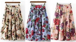 A line middi Floral skirts design ideas for women 2k20//top stylish street style Aline skirts design