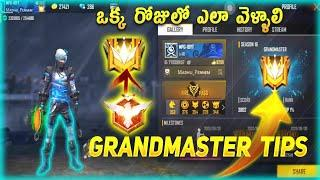 How To Reach GRANDMASTER In Free Fire || GRANDMASTER TIPS & TRICKS IN FREE FIRE IN TELUGU