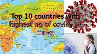 Top 10 countries with highest number of Covid-19 cases in world.