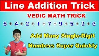 Line Addition Trick to Add Many Single-Digit Numbers Quickly | Vedic Math | Math Tips and Tricks
