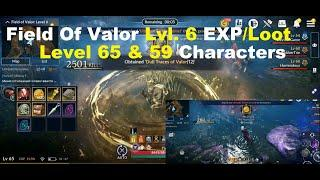 Black Desert Mobile: Field of Valor Level 6 EXP/Loot Test on Level 65 & 59 Character!