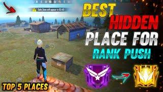TOP 5 NEW HIDDEN PLACE IN FREE FIRE IN BERMUDA 2021   RANK PUSH TIPS AND TRICKS IN FREE FIRE 2021