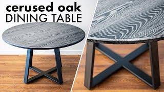 Building a CERUSED OAK Round Dining Table // How To - Woodworking & Welding