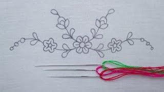 Hand Embroidery Amazing Neck Line Embroidery for Dresses, Simple Border Line Embroidery Tutorial, Em