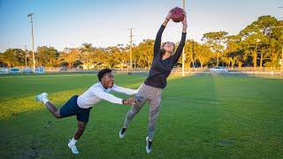FOOTBALL 1ON1'S AGAINST MY GIRLFRIEND! (1 HAND CATCHES ONLY)