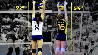 10 SHORTEST volleyball players who have BLOCKED TALLER opponents
