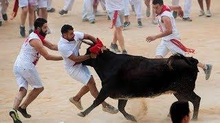 Funny and Dangerous Bull Fighting Videos.Lucky and Funny People Fail Videos #Bullfighting Festivals