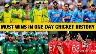 Most Wins In ODI Cricket History | Top 10 Teams | Debut, Matches Played, Matches Won and Winning %