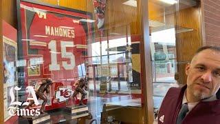 Trophy case dedicated to Patrick Mahomes' achievements