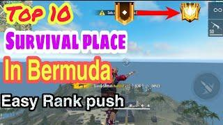 Top 10 survival place in Bermuda map in free fire| Easy rank push for grandmaster|