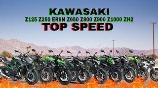 Kawasaki Z125 Z250 Z300 ER6N Z650 Z800 Z900 Z1000 ZH2 Top Speed