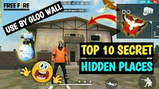 TOP 10 HIDDEN PLACES BY GLOO WALL || FREE FIRE ALL NEW HIDDEN & SECRET PLACES