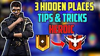 Free Fire : 1 Day Heroic Push Trick | Secret Place For Pushing Solo Ranked Season 20 | Hidden place
