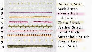 Top 10 Basic Stitches in Hand Embroidery   Tutorial for Beginners