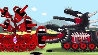 SIREN HEAD VENOM Tank Vs BLACK VENOM Tank and Captian Tank, Iron Tank, Thor Tank  - Tank Animation