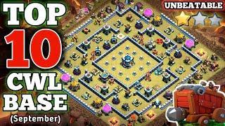 TOP 10 TH13 WAR BASE    BEST TH13 WAR BASE FOR SEPTEMBER CWL (Link Given In Video Description)