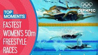 Top 10 Fastest Women's 50m Freestyle times at the Olympics! | Top Moments