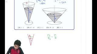 Solution to 2021 AMC 10A Problem 12 / 12A Problem 10 (Using Similar Triangles, 3D Geometry - Cones)