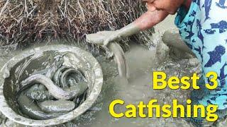 Top 3 Catfishing by Hand in Mud Catching Big Catfish - Best Fishing Techniques