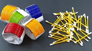 Amazing home decorating idea Out of Old bangles & Cotton buds | DIY arts and crafts