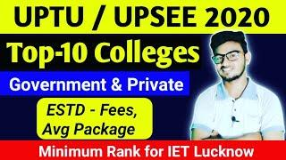 Top 10 college UPTU 2020 | Uptu Top 10 Colleges | Fees | Average package | Uptu 2020 Result