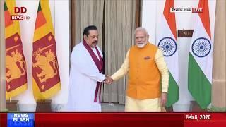 Delhi: PM of Sri Lanka Mahinda Rajapaksa meets Prime Minister Narendra Modi, at Hyderabad House.