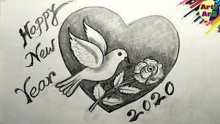 Happy New Year 2020 Greetings - Pencil Shading Drawing