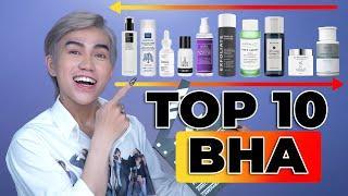 TOP 10 sản phẩm BHA trị mụn, chống lão hóa ? Loại nào MẠNH , loại nào NHẠT NHẼO như nyc ?