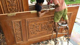 How To Install Extremely Large Main Door For Home // Woodworking Projects For New Home 2020!