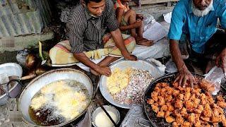 Amazing Hard Working 2 Man Selling Real Piyaju Recipe Best Street food in Village Market