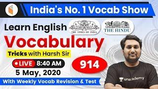 8:40 AM - English Vocabulary | Learn English Vocabulary Tricks with Harsh Sir | Day #914