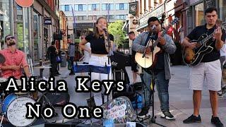 BEST STREET PERFORMERS BAND EVER | Alicia Keys - No One | Allie Sherlock with Fabio, John & Jason.