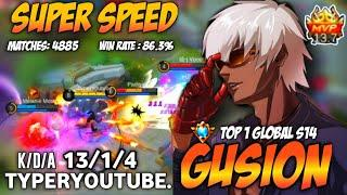 Top 1 Global Gusion ,Ultra Fast Hand Combo! with 4k Matches| Gusion Gameplay by Typeryoutube.