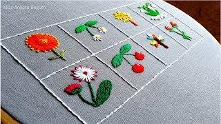 8 Beautiful flowers and fruits Hand Embroidery video,Secrets of Embroidery-16,Embroidery, #Miss_A