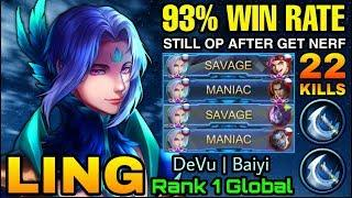 2x SAVAGE!! Ling is Still OVERPOWERED after get NERF - Top 1 Global Ling DeVu | Baiyi