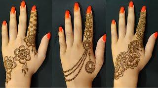 Top durga puja special back hand mehndi designs ||jewellery mehndi design easy |finger mehndi design