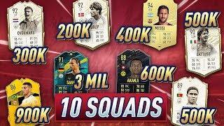 FIFA 20 10 SQUADS 100k, 150k, 200k, 300k, 400k, 500k, 3 Million (Icon Swaps 3 Squad Builder)
